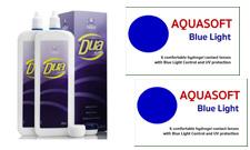 AQUASOFT BLUE LIGHT UV (2x6db) hidrogél havi lencse UV védelemmel és kék fény szűrűvel  +  500ml DUA Activa ápolószer